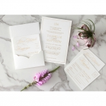 White Cotton Luxe Pocket  - Wedding Invitations - WP-HLFP-IC55-GG-01 - 178699