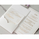 White Cotton Luxe Pocket  - Wedding Invitations - WP-HLFP-IC55-GG-01 - 178700