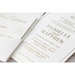 White Cotton Luxe Pocket  - Wedding Invitations - WP-HLFP-IC55-GG-01 - 178701