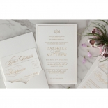 White Cotton Luxe Pocket  - Wedding Invitations - WP-HLFP-IC55-GG-01 - 178702