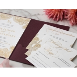 Opulent Burgundy and Gold Pocket  - Wedding Invitations - BP-SOLPW-TR30-GG-02 - 178592
