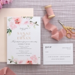 Gold and Floral Triplex Invitation - Wedding Invitations - WP306GG - 178346