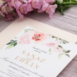 Gold and Floral Triplex Invitation - Wedding Invitations - WP306GG - 178345