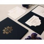 Premium Gold Embellished Navy Hardcover - Wedding Invitations - HC-NV03 - 178477