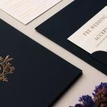 Premium Gold Embellished Navy Hardcover - Wedding Invitations - HC-NV03 - 178476