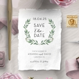 Country Garland wedding save the date stationery card