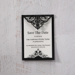 Elegant Crystal Black Lasercut Pocket wedding save the date stationery card item