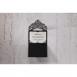 Elegant Crystal Black Lasercut Pocket wedding stationery save the date card
