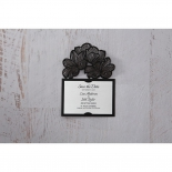 Floral Laser Cut Elegance Black wedding stationery save the date card item