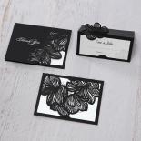 Floral Laser Cut Elegance Black save the date wedding card design