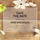 Frosted Chic Charm Acrylic wedding stationery save the date card