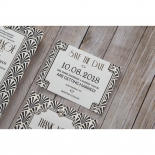 Glitzy Gatsby Foil Stamped Patterns save the date invitation card design