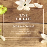 Silver Chic Charm Acrylic save the date wedding card