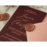 Blackberry Coloured Save the Date with Foil - Wedding Invitations - WP-CR14-RG-01 - 178831