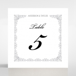Black on Black Victorian Luxe wedding reception table number card stationery