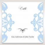 Romantic White Laser Cut Half Pocket wedding venue table number card stationery design