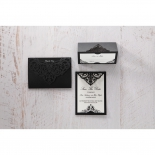Elegance Encapsulated Laser cut Black thank you wedding stationery card item