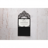 Elegance Encapsulated Laser cut Black thank you wedding stationery card design