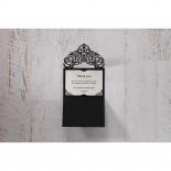 Elegant Crystal Black Lasercut Pocket wedding thank you stationery card item