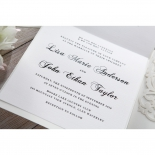 Matte textured paper inked with classic style fonts in black