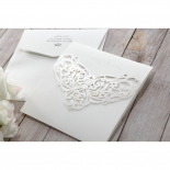 Traditional invite sleeve cover designed with laser cut Victorian patterns