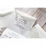 Envelope and two classic styled bridal invite designed with laser cut cover