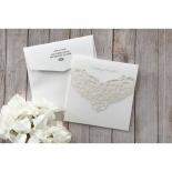 Classically styled laser cut three fold invitation