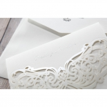 Silver foiled cover text of the three fold classical wedding card