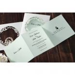 Invite design with three fold inner paper and aisle designed white sleeve