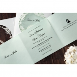 Modern blue and white garden aisle themed laser cut invitation
