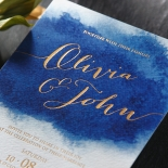At Twilight with Foil Wedding Invite Card