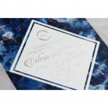 Azure  with Foil Wedding Invite Card