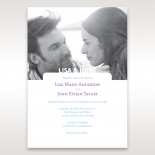 Modern romantic picture invite featuring blue and purple fonts