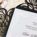Black Divine Damask Invitation Card Design
