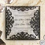 Black Divine Damask Wedding Invitation Design
