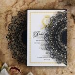 Black Doily Elegance Wedding Card Design