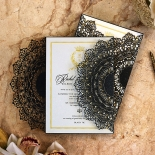 Black Doily Elegance Stationery card