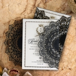 Black Doily Elegance with Foil Stationery card