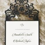 Black Lace Drop Wedding Invite Design
