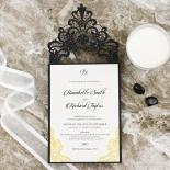 Black Lace Drop Wedding Invitation Design
