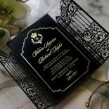 Black Victorian Gates with Foil Wedding Invitation