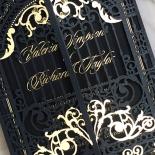 Black Victorian Gates with Foil Invitation Card