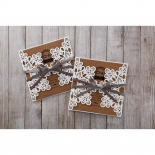 Square brown inserts and flower inspired white invitation pocket