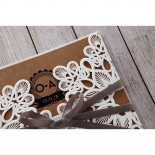 Modern typography flower invitation designed with laser cut patterns and grey ribbon