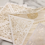 Blooming Charm with Foil Wedding Invite Card