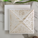 Blooming Charm with Foil Wedding Invitation Card Design