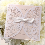 Floral designed pocket invite with blush coloured insert