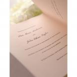 Celebration details printing in black ink on pink folded card