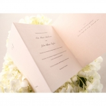 Classic themed threefold pink coloured party card with traditional fonts