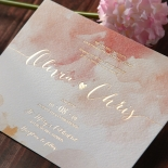 Blushing Rouge with Foil Wedding Invite Card